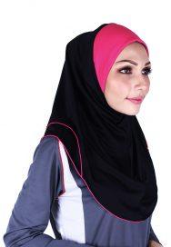 Raqtive Sport Hijab Black Fucshia B215