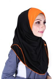 Raqtive Sport Hijab Black orange B216