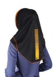 Raqtive Sport Hijab Black orange B216 b